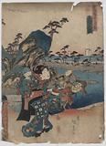 View of Okitsu. Print shows a woman carrying a child on her back and a tray with two cups appears to be walking on …