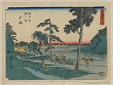 Totsuka. Print shows porters carrying a traveler in a sedan chair and carrying bundles on a shoulder pole as they …