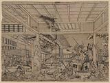 Perspective picture of Minamoto Raikō battling the giant spider and its demons