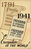 1791 - Freedom of speech, press, religion, assembly; 1941 - Freedom of expression and religion …