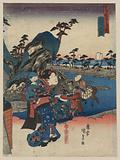 View of Okitsu. Print shows a woman standing on a cloud, carrying a child on her back and a tray in her left hand, as …