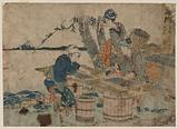 Shinagawa. Print shows three women sorting clams by size, with view of Mount Fuji in the background