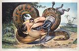 """Swallowed! . Illustration shows William Jennings Bryan as a large snake labeled """"Populist Party"""" entwined around a …"""