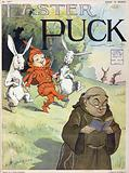 Easter Puck. Illustration shows Puck wearing the bright red outfit of a musketeer, walking between two rabbits who are …