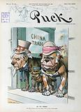 """As to China. Illustration shows Uncle Sam, John Bull, and """"Japan"""" as dogs standing in an open doorway, the door …"""
