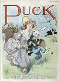 Puck Easter. Illustration shows a young woman walking arm in arm with a rabbit carrying a basket of Easter eggs