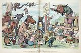 """The other side. Illustration shows a large group of happy animals gathered around a sign that states """"Meeting to thank …"""