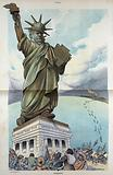 Liberty? . Illustration shows a caricature of the Statue of Liberty where Liberty has been replaced by a labor union …