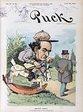 Bryan's hobby. Illustration shows William Jennings Bryan as a horse racing jockey sitting on a rocking horse trying to …