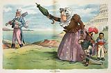 Still scolding. Illustration shows Edward F Hoar as an old woman waving an umbrella and yelling at Uncle Sam as he …