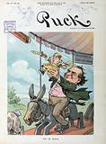 """Out of reach. Illustration shows William Jennings Bryan sitting on a donkey on the """"Democratic Merry-Go-Round"""""""