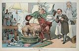 """A bitter dose. Illustration shows James R Garfield as a physician administering a large dose labeled """"Federal …"""