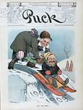 """All his own. Illustration shows Uncle Sam pushing President Theodore Roosevelt, on a sled labeled """"The 'Teddy' Flyer"""", …"""