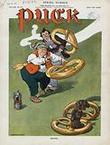 Quoits. Illustration shows a rotund elderly man playing quoits, a ring-toss game, with pretzels which he has tossed …