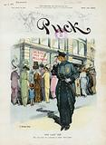 """The lady cop. Illustration shows a policewoman observing a crowd of women outside a store advertising a """"Sacrifice …"""