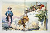 """Mad dog? . Illustration shows a dog wearing a sombrero labeled """"Mexican Revolution"""" jumping and barking, stirring up a …"""