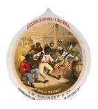 Essence of Old Virginia Wheat Whiskey, AM Bininger & Co Whiskey advertising label showing African Americans in tavern …