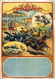 Advertising poster showing two men in classical dress riding four-horse teams during race while spectators in …