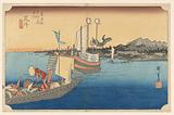 Arai Ferryboat, in The Fifty-Three Stations of the Tokaido Road (Tokaido Gojusan Tsugi-no Uchi)