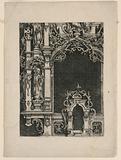 """Elevation of Part of an Altar Retable, from """"Architectura und Ausztheilung der V Seulen"""""""