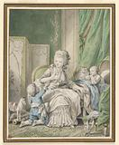 Mother and Two Children in a Boudoir