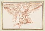 Kneeling winged figure holding a crown