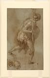 """Soldier Running:Study for Figure in Left Foreground, """"Betrayal of Christ,"""" Rome, S Maria della Consolazione, Matttei Chapel"""