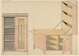 Designs for Mechanical Furniture: Bookcase and Shelf Desk