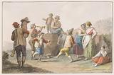 Water colour. Two peasants dancing to the music of bagpipe and horn.