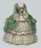 Paper Doll and Costume in Emerald Green and Pink Roses