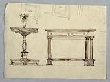 Project for Tables. Sketches for Chests of Drawers and Possibly Frieze Stand.