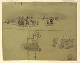 Beach Scene with Women Carrying Baskets, Cullercoats, England