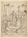 Sketches for paintings. Obverse: A Roman officer holds a crucifix upon a heathen altar. Reverse: Christ rising.