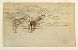Two Dories Being Launched, England