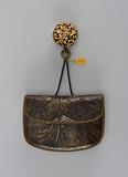 Kin-chaku (purse) with netsuke and ojime on chord