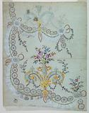 """Design no. 1877 for the Embroidery of the Lower Front Part of the """"Fabrique de St Ruf""""."""