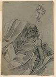 Drawing Studies with Woman's Face and Man Reclining, and Right Hand with Forearm
