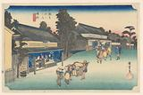 Narumi, A Place Famous for Its Cloth, in The Fifty-Three Stations of the Tokaido Road (Tokaido Gojusan Tsugi-no Uchi)