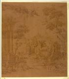 """Proof for textile: """"Pastoral Scene with Peacocks and Poultry"""""""