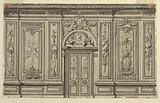 The elevation of the entrance wall of a drawing room with alternative suggestions