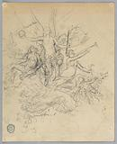 Sketch of Winged Figure, Possibly Fortuna