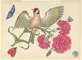 Brown Bird with Red Head on Carnation Stem with Butterflies