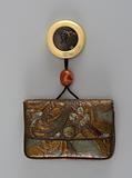 Kinchaku (purse) with netsuke and ojime on chord