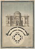 Design for a Classical Temple with a Tempietto and Semicircular Aedicule