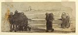 Figures Overlooking a Bay and a Small Boat, Cullercoats, England