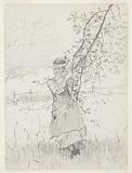 Girl Holding a Branch of an Apple Tree