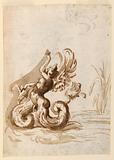 A Winged Mer Hermaphrodite and Sketches for a Bowl