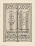 Design for the grillework entrance of Hotel du Gouverement at Metz, France