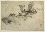 Two Fishing Boats with Sails, Cullercoats, England