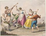 Water colour. Tarantella dancers.